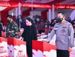 Ketua DPR Tinjau Vaksinisasi Massal Akabri 1996 Bersama Panglima TNI dan Kapolri